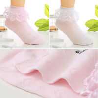 Looching Baby Toddlers Girls White Cotton Princess Style Ruffles Lace Top Frilly Mesh Socks with Bowknot Pack of 6