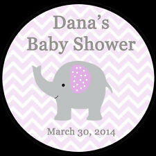 """12 Personalized Round Stickers - Purple Elephant Baby Shower  - 2.5"""" Inches"""