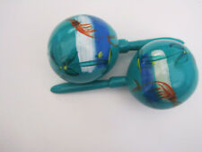Mexican Maracas Colorful Turquoise handcrafted handpainted - Fish in pond