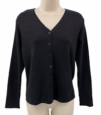 CLIO Womens Cardigan Sweater Size Medium Black Metallic Silk Polyester Blend LS
