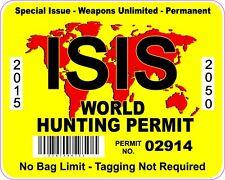 ISIS WORLD HUNTING PERMIT INTERNATIONAL VINYL STICKER DECAL