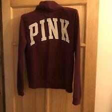 Burgundy Zip Full Sleeve Top,  Pink By Victorias Secret - XS
