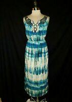 LANE BRYANT Plus Size 1X 16 Long Dress Blue White Brown Beads Sleeveless