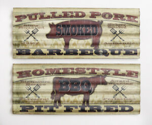 New Primitive Country Rustic SET 2 SMOKED BBQ PORK PIG COW SIGN Plaque Hanging