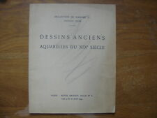 Catalogue de Vente aux Encheres 1949 DESSINS ANCIENS AQUARELLES XIX e