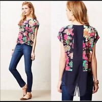 Anthropologie Maeve Silk Floral Blouse