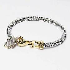STYLISH SILVER GOLD CLASP HAMSA HAND CABLE ROPE CUFF BRACELET