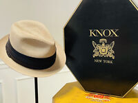 Excellent Vintage Knox New York Havana Style Fedora Hat Black Band 6 7/8 Cuba