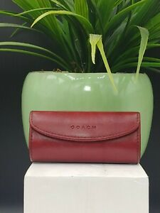 Vtg COACH Leather Lipstick Tube Holder Case Red Mirror Snap Closure Authentic