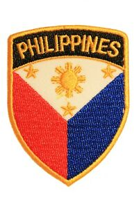 PHILIPPINES Country Flag Logo SHIELD SHAPE Iron-On PATCH CREST BADGE..New