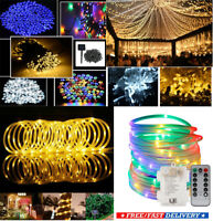 Solar Rope / Curtain LED light Fariy String Outdoor Garden Party Wedding Lamp UK