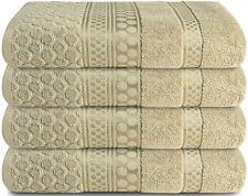 Four Pieces Bath Towel (27x54) Inch Jacquard Circle Design - Taupe