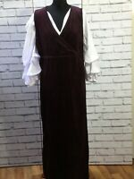 Vintage 90s Burgundy Cord Maxi Length Dress Pinafore Size M