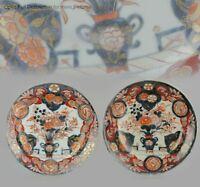 Antique Ca1700 Japanese Imari Porcelain Plates Arita Edo Flowers