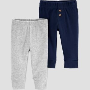 Baby Boys 2pk Pull-On Pants - Just One You made by Carter's Navy/Gray Size 6M