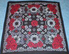 Vintage Hankie Handkerchief Bandana Neck Scarf Black Red Roses