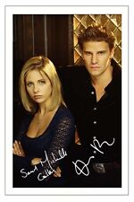 DAVID BOREANAZ & SARAH MICHELLE GELLAR BUFFY SIGNED PHOTO PRINT AUTOGRAPH