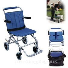 Portable Wheelchair Lightweight Fold Transport Chair Mobility Aids Travel Seat