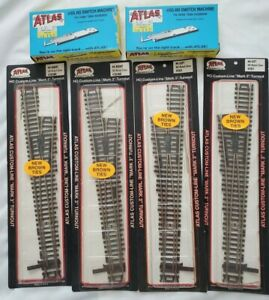 4 Atlas #6 Left/Right Nickel Silver Turnout-#283-284BR-2 Switch Machines #65