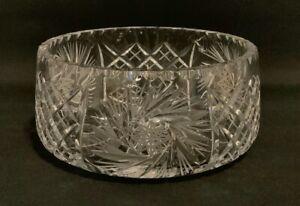 Large Bohemian Lead Crystal 'Pinwheel Star' Cut Glass Salad / Fruit Trifle Bowl