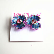 Betsey Johnson Blooming Betsey Blue And Pink Glitter Flower Stud Earrings NEW