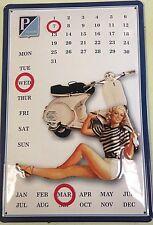 Piaggio embossed steel sign /  calendar 300mm x 200mm  (hi)
