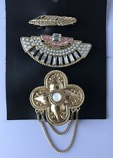 Free People NEW Set of 3 Hair Clip Barrettes Gold Tone Art Deco ANTHROPOLOGIE