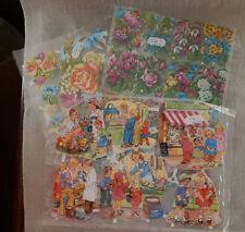 RARE 3 Vintage Paper Western German Cutout Sheets  #3124 #3125  Flowers Children