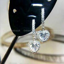 Certified 3.00 Ct Heart Diamond Drop/Dangle Hoop Earrings 925 Sterling Silver