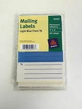 """Avery From/To Light Blue 3""""x4"""" Mailing Labels w/ Guide Lines - 60 per Pack 05297"""