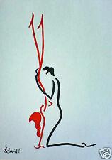 H.Schmidt Erotik Akt*Handstand*frau nackt Kamasutra liebesstellung mann Aquarell