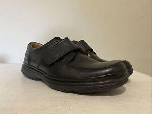 Men's Clarks Flexlight Black Leather Hook & Loop Fastening Shoes UK 7 H EU 41