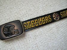 PITTSBURGH STEELERS Genuine Leather Belt & Matching Buckle -cut to size