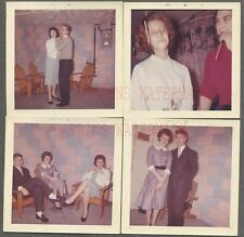Lot of 4 Vintage Snapshot Photos Teen Boys & Pretty Girls Dancing Party 723168