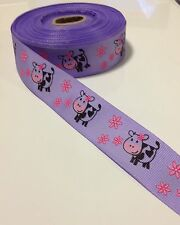 24mm Purple Moo Cow Grosgrain Ribbon Per Metre - Australian Supplier