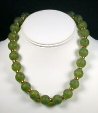 YSL Yves St Laurent Olive Green Frosted Glass Bead Necklace