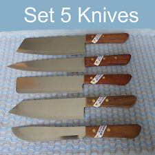 Thai Knife KIWI Brand Knives Set 5 Wood Handle Kitchen Cutlery Stainless New