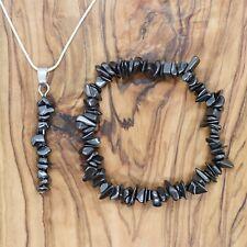 Hematite Gem Chip Pendant Necklace & Bracelet Gift Set Grounding Energy Reiki