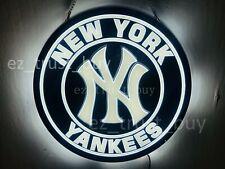 "New York Yankees Led 3D Neon Sign 20"" Light Lamp Wall Decor Windows Artwork Bar"