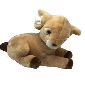 "Baby Deer Fawn Tan Brown Cream Laying Vintage Eden Plush 15"" Toy Lovey"