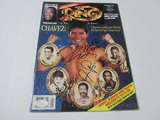 Roberto Duran Julio Cesar Chavez 5 sigs signed The Ring boxing magazine JSA COA