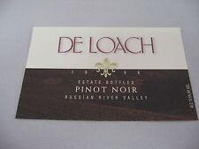 Wine Label: DE LOACH 1998 Pinot Noir Russian River Valley Sonoma California