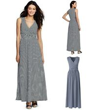 NWT Lands End Womens Sleeveless V-Neck Surplice Maxi Dress Blue Stripe MT 10-12
