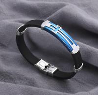 Armband Edelstahl Armreif Silber für Herren Männer Schwarz Kreuz 21cm Life Style
