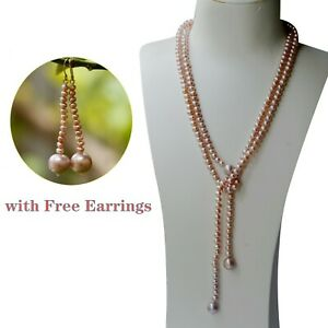 Gorgeous Natural Freshwater Purple High Luster pearl Necklace w/free Earring 317