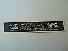 New York Rangers '93-'94 Stanley Cup Nameplate For A Signed Hockey Photo 1.25X6