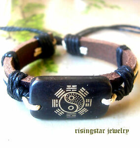 FengShui IChing Karma Harmony Leather Fashion Surfer Biker Character Bracelet