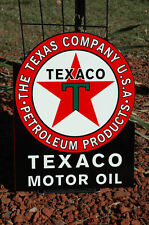 OLD STYLE TEXACO MOTOR OIL GASOLINE BLACK T FLANGE THICK STEEL SIGN MADE IN USA!