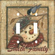 PERSONALIZED PRIMITIVE COUNTRY SNOWMAN & BIRD HOLIDAY LIGHT SWITCH PLATE COVER