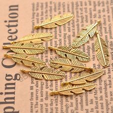 10/30/50Pcs Tibetan Silver Feather Leaves Charm Pensant for Bracelet CA3077
